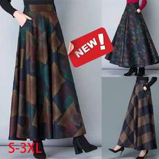woolen, halflength, long skirt, Plus Size