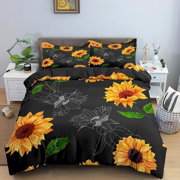 beddingdecor, sunflowerduvetcover, Sunflowers, quiltcover