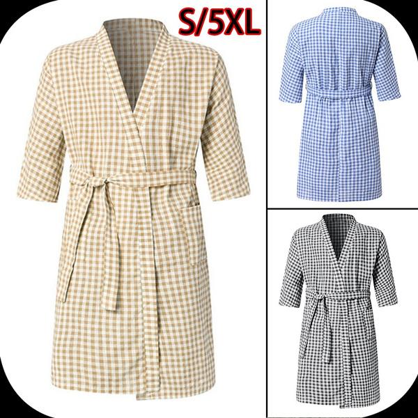 Summer, plaid, kneelengthbathrobe, gowns