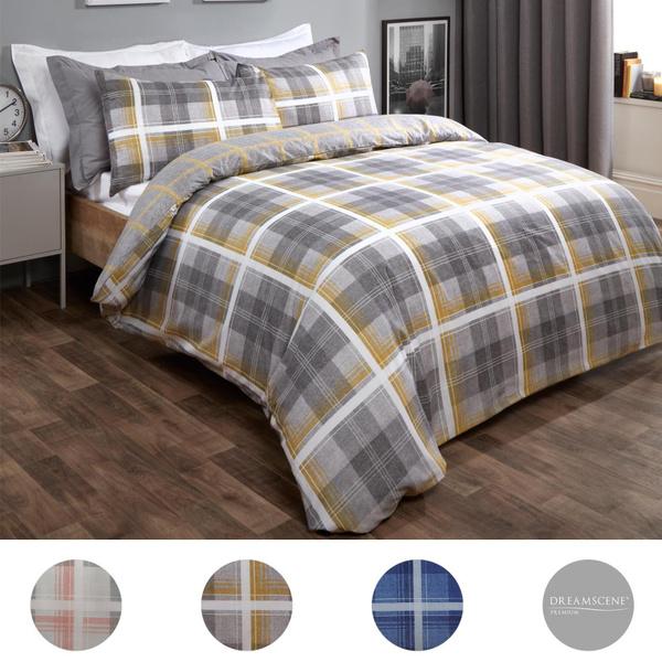 Charcoal, patternedbedsheet, tartanbedding, Denim
