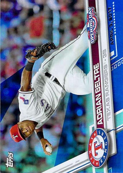 2017baseballcard, adrianbeltre, openingday, Texas Rangers