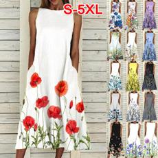 Summer, Party Dresses, Plus Size, Necks