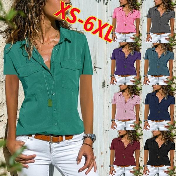 Summer, Plus Size, shirtsplussize, lapelshortsleeve