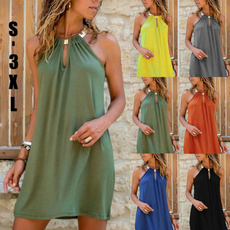 Sleeveless dress, Plus Size, halter dress, Halter
