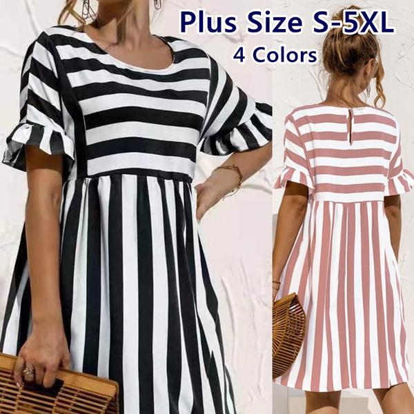 Summer, Plus Size, ruffle, Dress