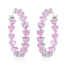 pink, Heart, Hoop Earring, 925 sterling silver