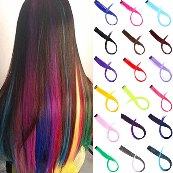 synthetichairhighlightedbyrainbowhairclip, wig, syntheticwigwomengirlrainbow34color, Hair Extensions