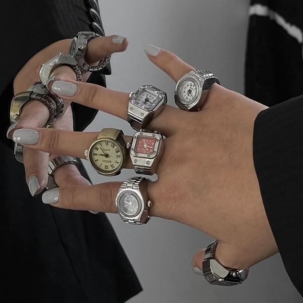 Couple Rings, adjustablering, quartz, Elastic