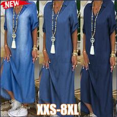denim dress, Summer, Fashion, Necks