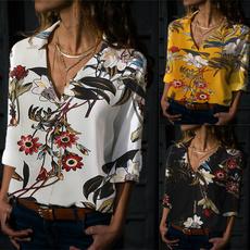 Fashion, Long Sleeve, looseblouse, Floral