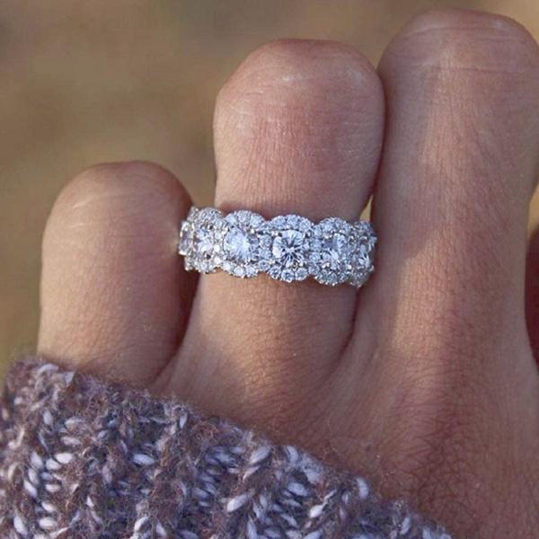 Cubic Zirconia, DIAMOND, haloring, wedding ring