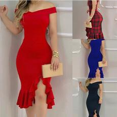 Plus Size, ruffle, Evening Dress, tubedre