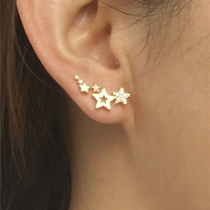 Fashion, 925 sterling silver, gold, Stud Earring