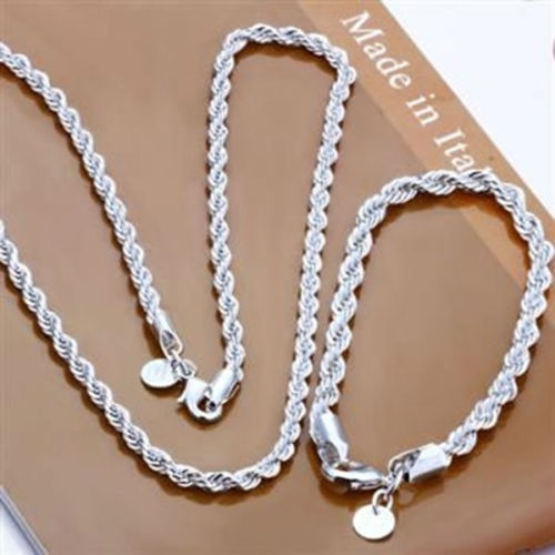 Sterling, Rope, Chain Necklace, 925 sterling silver