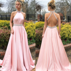 pink, gowns, sleeveless, Fashion