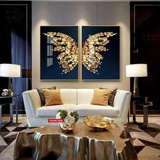 butterfly, golden, art, Wall Art