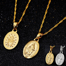 goldplated, marynecklace, womenmen, Christian