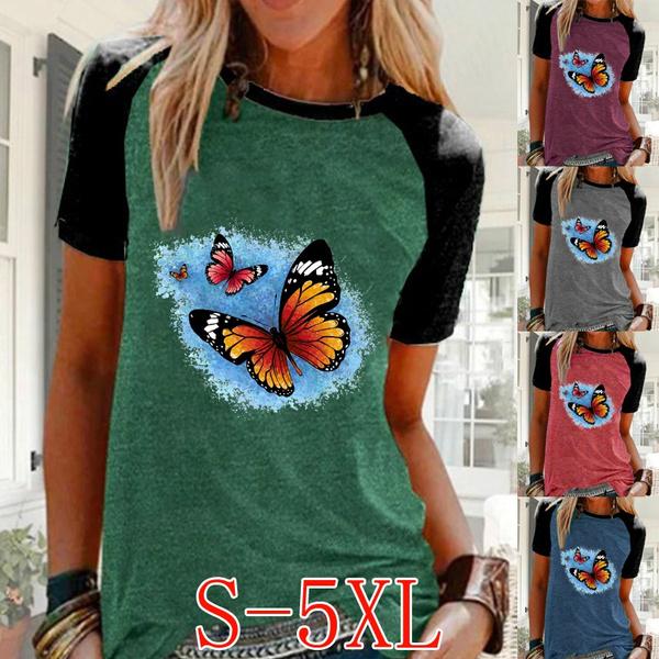 butterfly, Summer, Plus Size, Women Blouse