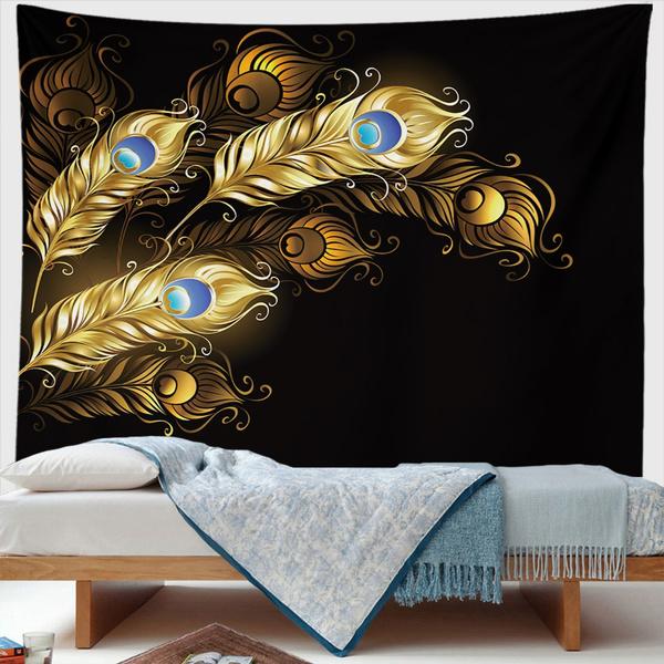 peacock, art, Home Decor, gold