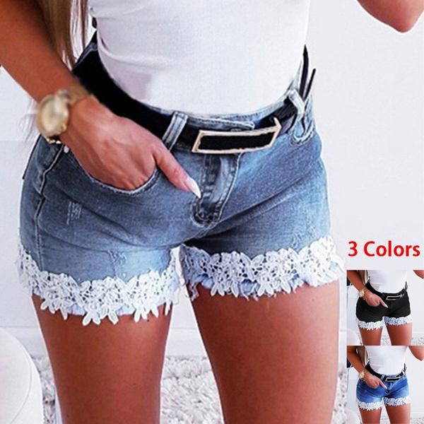 Summer, Shorts, Stitching, Lace