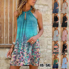 Summer, Plus Size, knee, Dress