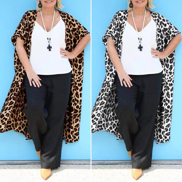 Summer, Plus Size, printingcoat, leopard print