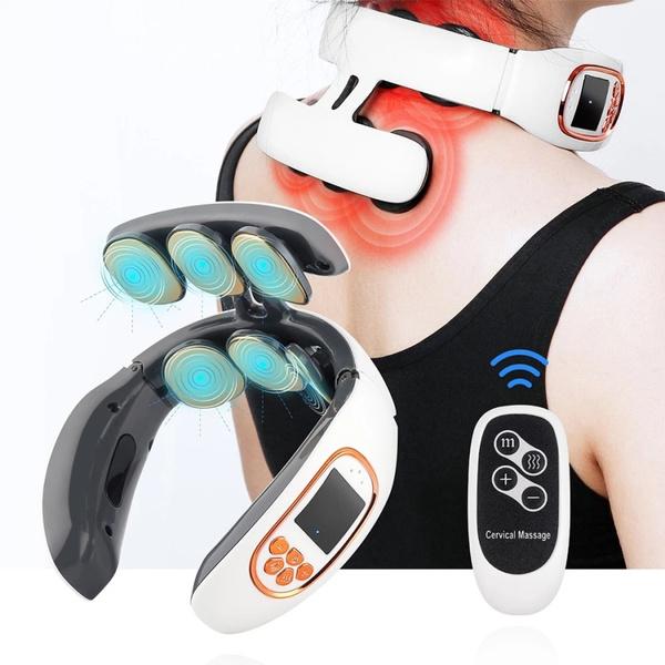 6 Heads Smart Electric Neck and Back Pulse Massager TENS Wireless Heat  Cervical Vertebra Relax Pain Kneading Massage Machine | Geek