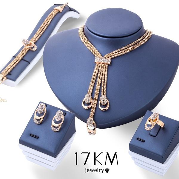 Charm Bracelet, Stud Earring, tasselnecklace, Rhinestone