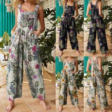 suspenders, longtrouser, Plus Size, Floral print
