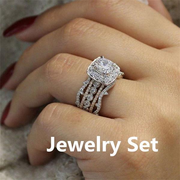 Engagement Wedding Ring Set, wedding ring, 925 silver rings, Women's Fashion