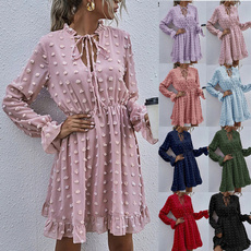 Deep V-Neck, Mini, fashion women, ruffle dress