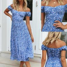 Blues, Summer, short sleeve dress, Floral print