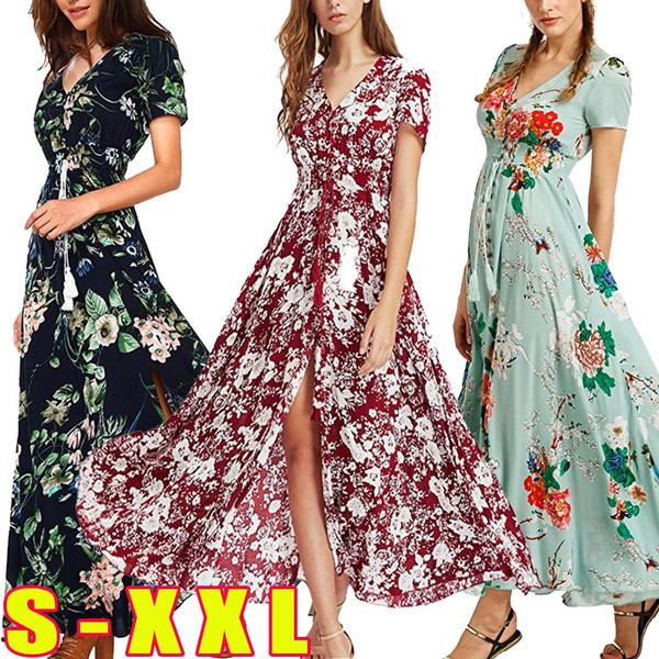 Plus Size, Print Dresses, Necks, long dress