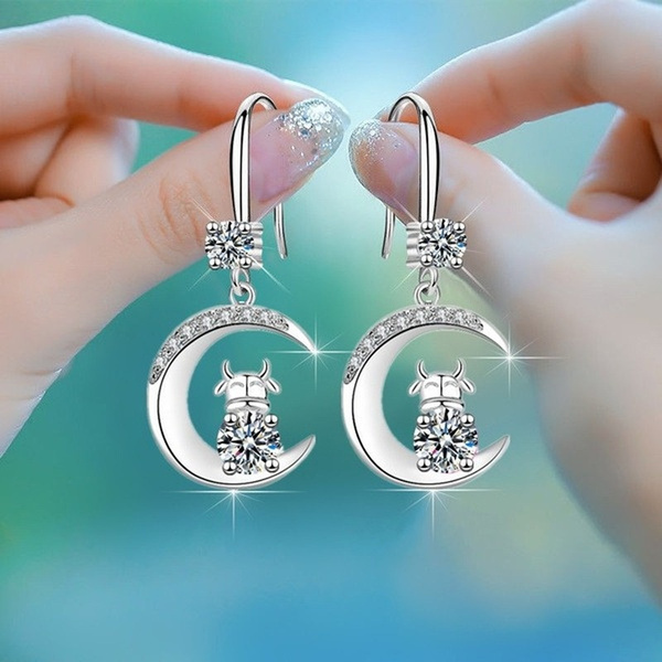moonearring, DIAMOND, Dangle Earring, Jewelry