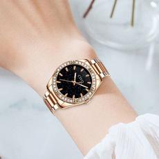metalstrapwatch, quartz, gold, Waterproof