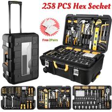 trolley, case, werkzeugkoffer, Aluminum