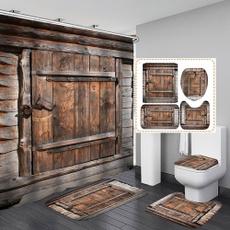 Bathroom, Door, Wooden, Shower Curtains