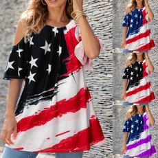 Summer, Plus Size, printed shirts, short sleeves