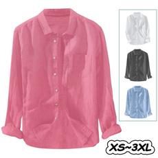 Summer, Plus Size, Shirt, buttonpocket