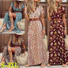 Summer, highslitwomendre, womensfashiondresssummer, short sleeve dress