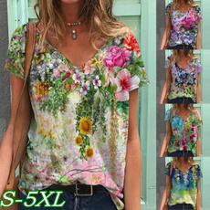 Plus Size, Sleeve, Flowers, Shorts