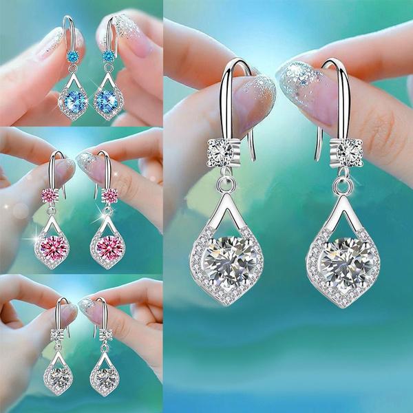 Sterling, DIAMOND, Gemstone Earrings, vintage earrings