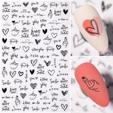 nail decals, redblackandwhiteflower, Love, Romantic