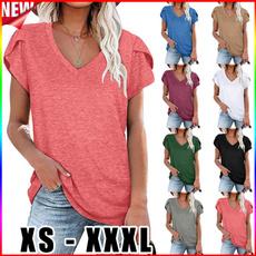 Summer, Plus Size, short sleeves, V-neck