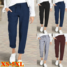 Women Pants, Pocket, elastic waist, Waist