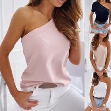off shoulder top, Plus Size, Cotton Shirt, Ladies Fashion