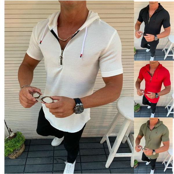 Fashion, Cotton, solidcolortshirt, menshoodedtshirt