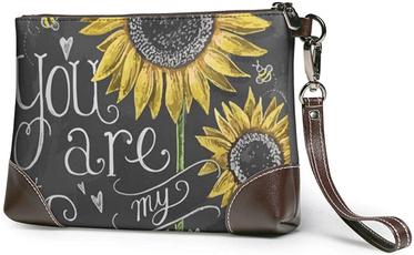 Makeup bag, leatherclutch, Sunflowers, Phone