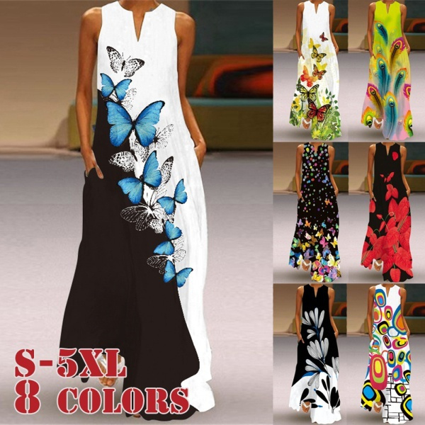 butterfly, Summer, Fashion, long dress
