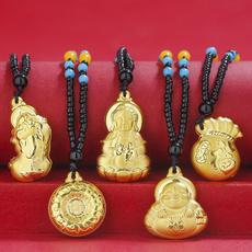 maitreyabuddhaguanyin, newmoneychainpendant, Jewelry, gold